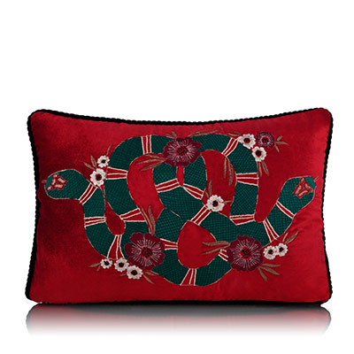 vermilion serpent cushion cover