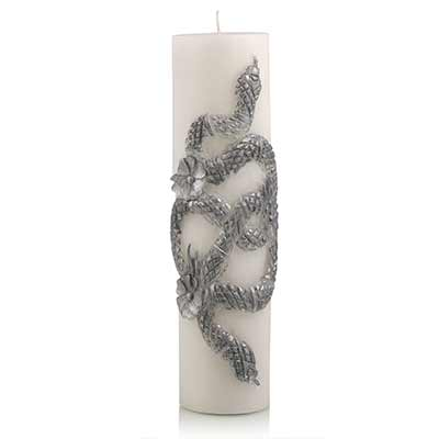 serpent pillar candle silver