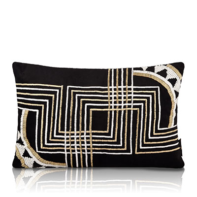 Chrysler Black Velvet Beaded Cushion Cover