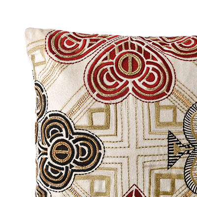 Sovreign Suites White Velvet  Embroidered Cushion
