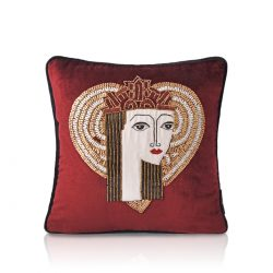 queen of hearts ruby red velvet cushion cover