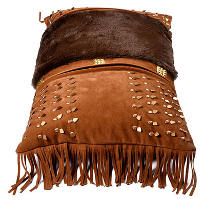 Talisman Suede Fur Patch With Fringe Cushion Cover