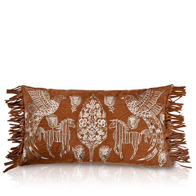 haoma tan suede with fringe cushion cover