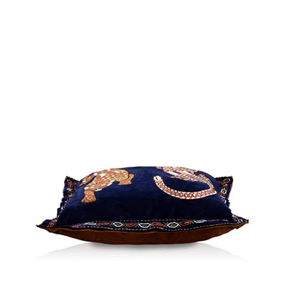Taijitu Navy Suede Cushion Cover