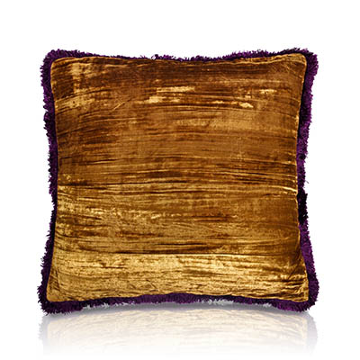 Crescente Crushed Velvet Fringe Cushion