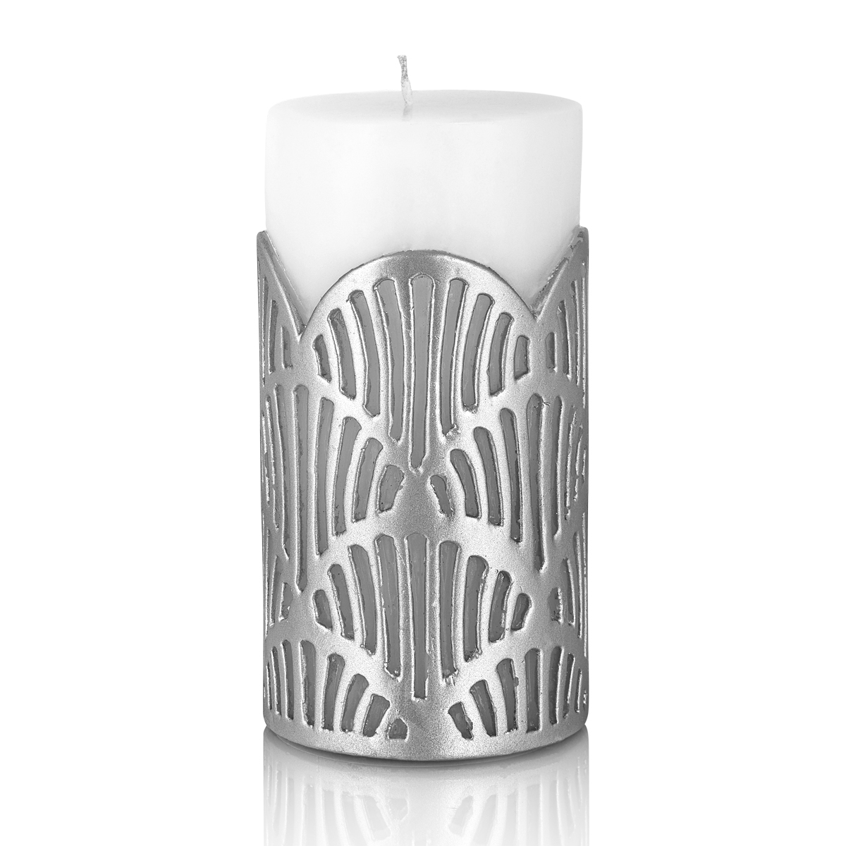 jali pillar candle silver large